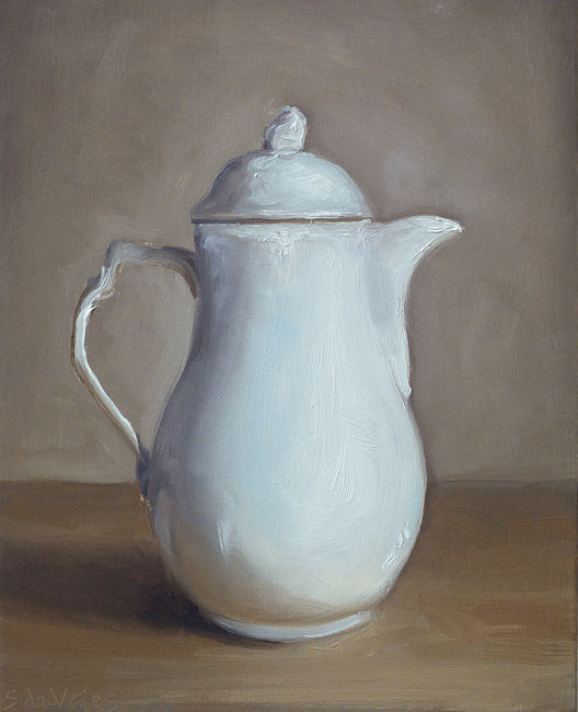 Witte kan, olieverf op paneel, 16 x 20 cm, Serge de Vries