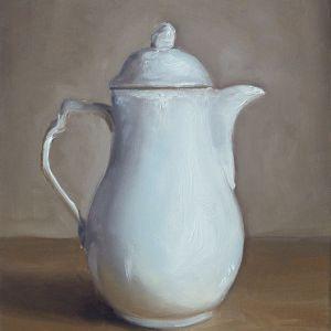 Schilderij Witte kan, olieverf op paneel, 16 x 20 cm, Serge de Vries