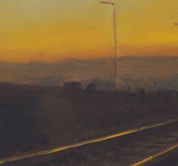 Detail 2 Spoorlijn, olieverf op paneel, 16,5 x 15,5 cm, Serge de Vries