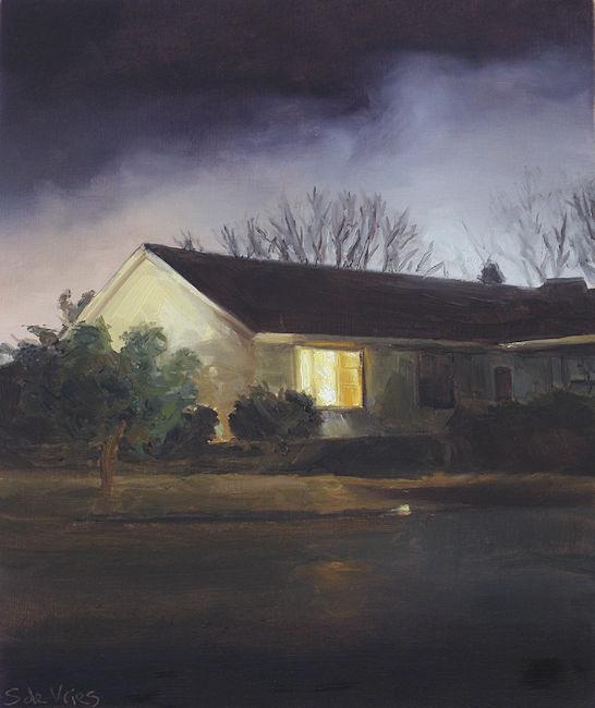Huis in de nacht nr4, olieverf op paneel, 19 x 16 cm, Serge de Vries