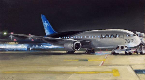 Schilderij Vliegveld, olieverf op paneel, 14 x 25 cm, Serge de Vries