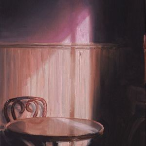 Stoel en tafel, olieverf op paneel, 21 x 14 cm, Serge de Vries