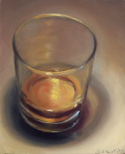 Whisky, olieverf op paneel, 13 x 11 cm, Serge de Vries