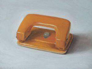 Hole puncher, oil on wood, 13 x 17 cm, Serge de Vries