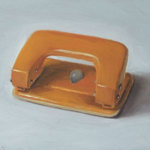 Hole puncher, oil on wood, 13 x 17 cm, Serge de Vries