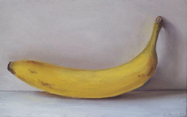 Banaan, olieverf op paneel, 12,5 x 20 cm, Serge de vries