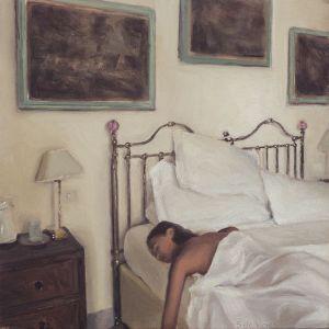Slapende vrouw, olieverf op paneel, 16 x 16 cm, Serge de Vries