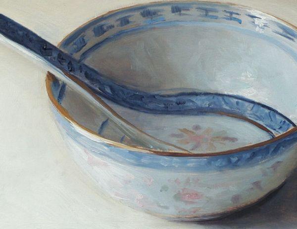 Detail Chinese kom, olieverf op paneel, 14 x 18 cm, Serge de Vries