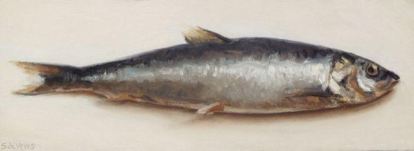 Haring, olieverf op paneel, 9 x 24,5, Serge de Vries