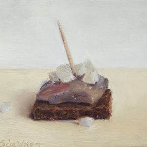 Haring op roggebrood, olieverf op paneel, 9 x 9,5 cm, Serge de Vries