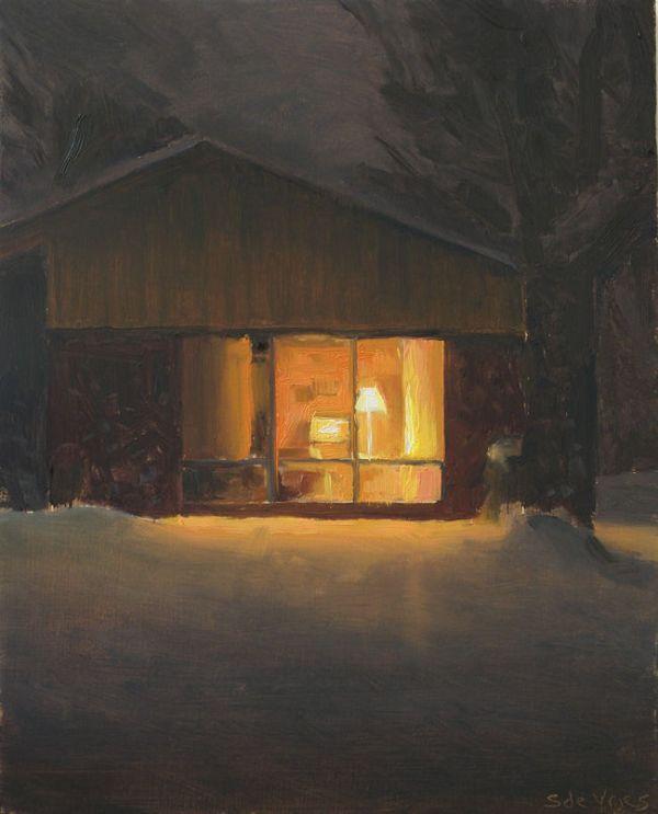 Huis in de nacht nr5, olieveref op paneel, 19 x 15 cm, Serge de Vries