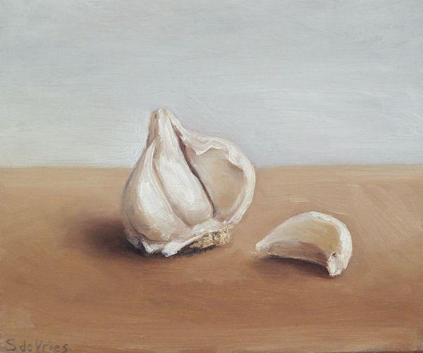 Knoflook, olieverf op paneel, 12,5 x 15 cm, Serge de Vries