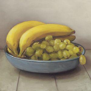 Bananen en druiven, olieverf op paneel, 17,5 x 23 cm, Serge de Vries