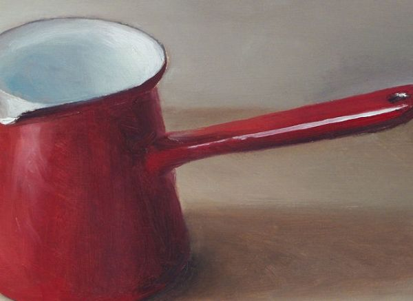 Detail Rood melkkannetje, olieverf op paneel, 14 x 19 cm, Serge de Vries
