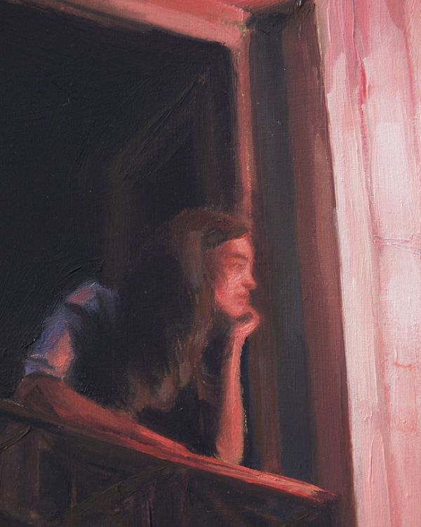 Detail 2 Vrouw op balkon, olieverf op paneel, 20 x 16 cm, Serge de Vries