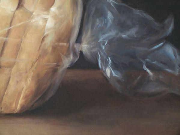 Detail 2 Brood in plastic. olieverf op linnen, 70 x 90 cm, Serge de Vries
