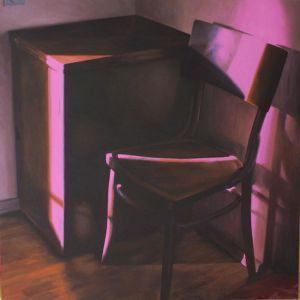Stoel xxl, olieverf op linnen, 150 x 150 cm, Serge de Vries