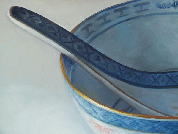 Detail 1 Chinese kom XL, olieverf op linnen, 70 x 90 cm, Serge de Vries