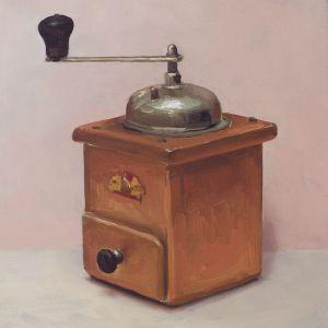 Koffiemolen nr4, olieverf op paneel, 21,5 x 19 cm, Serge de Vries
