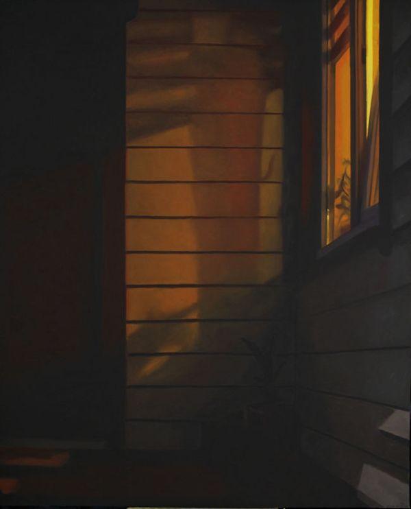 Voordeur bij avond xxl, olieverf op linnen, 160 x 130 cm, Serge de Vries