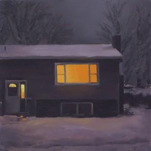 Huis in de nacht nr6, olieverf op paneel, 17 x 17 cm, Serge de Vries