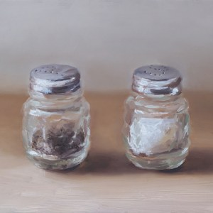 Peper- en zoutstel nr6, olieverf op paneel 12,5 x 17,5 cm, Serge de Vries