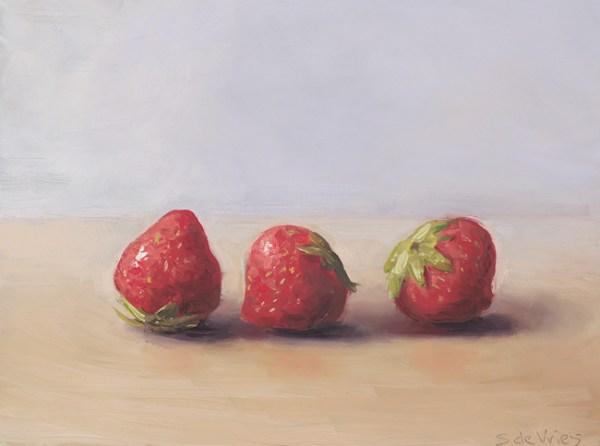 Aardbeien, olieverf op paneel, 12 x 16 cm, Serge de Vries