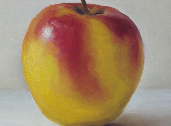 Detail Appel, olieverf op paneel, 12,5 x 17 cm, Serge de Vries