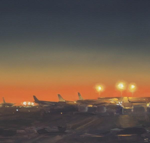 Detail Vliegveld nr2, olieverf op paneel, 17,5 x 18,5 cm, Serge de Vries