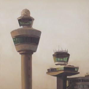 Luchtverkeerstoren, olieverf op paneel, 21,5 x 17 cm, Serge de Vries