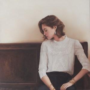 Vrouw op een bank, olieverf op paneel, 20 x 20 cm, Serge de Vries