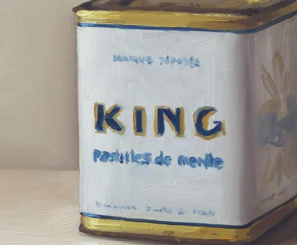 Detail King pepermunt blik, olieverf op paneel, 13 x 15,5 cm, Serge de Vries
