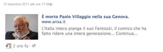 Notizia ANSA della (finta) morte di Paolo Villaggio