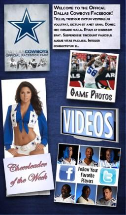 Dallas Cowboys Facebook Welcome Page
