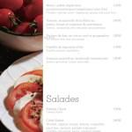 Menu du restaurant Elysée Lounge - Entrées et Salades