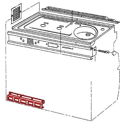 Grille inox grise de ventilation de bas de gazinière