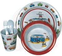 Children melamine dinnerware set, Vintage Bus pattern, 5 ...