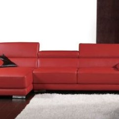 Red Leather Two Seater Sofa Cane Set Singapore Sectional | With Chaise L Shaped ...