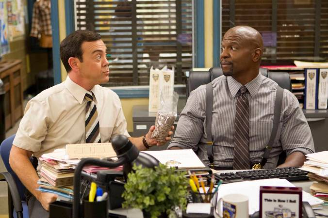 "BROOKLYN NINE-NINE: Charles (Joe Lo Truglio, L) and Sgt. Jeffords (Terry Crews, R) in the ""The Oolong Slayer"" ©2015 Fox Broadcasting Co. CR: John P Fleenor/FOX."