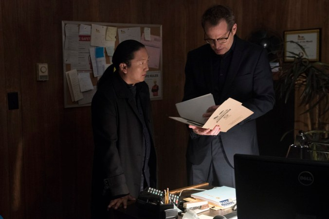 "HEROES REBORN -- ""June 13th - Part One"" Episode 107 -- Pictured: (l-r) Masi Oka as Hiro Nakamura, Jack Coleman as HRG -- (Photo by: Christos Kalohoridis/NBC)"