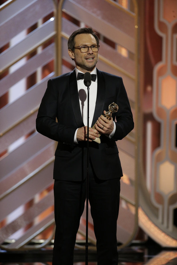 "73rd ANNUAL GOLDEN GLOBE AWARDS -- Pictured: Christian Slater, ""Mr. Robot"", Winner, Best Supporting Actor - Series/Limited Series/TV Movie at the 73rd Annual Golden Globe Awards held at the Beverly Hilton Hotel on January 10, 2016 -- (Photo by: Paul Drinkwater/NBC)"