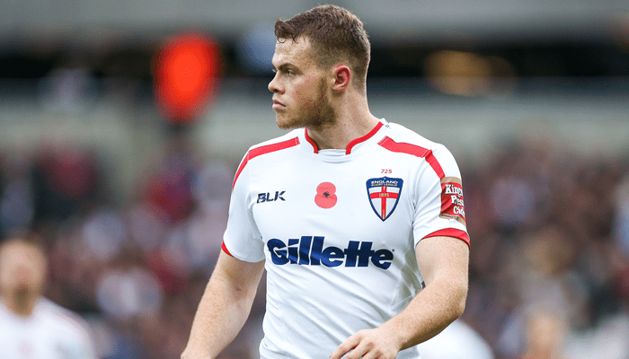 Wigan Warriors winger Joe Burgess playing for England in 2015.