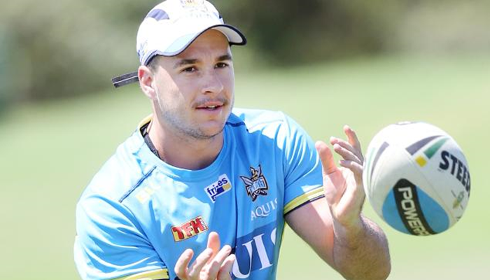 Leigh Centurions' Lachlan Burr training with his old club Gold Coast Titans.