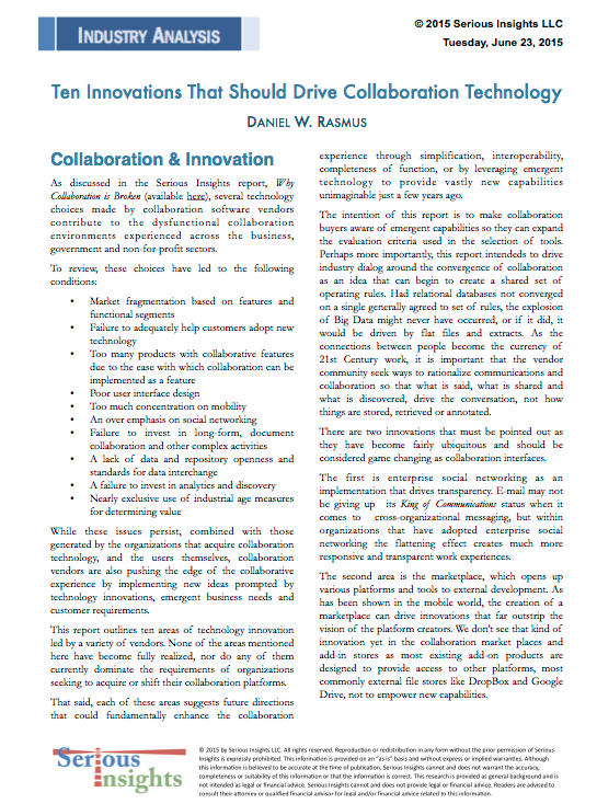 New Report: Ten Innovations That Should Drive Collaboration Technology