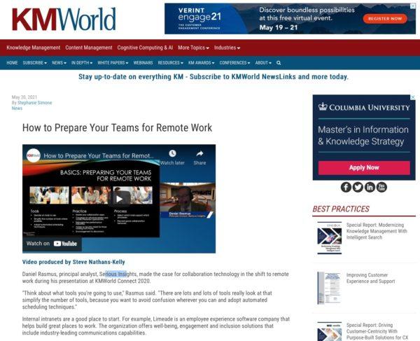 Rasmus on Collaboration at KMWorld