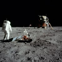 Aldrin next to the Passive Seismic Experiment Package with Eagle in the background. Neil Armstrong - NASA photo AS11-40-5948. #NASASocial
