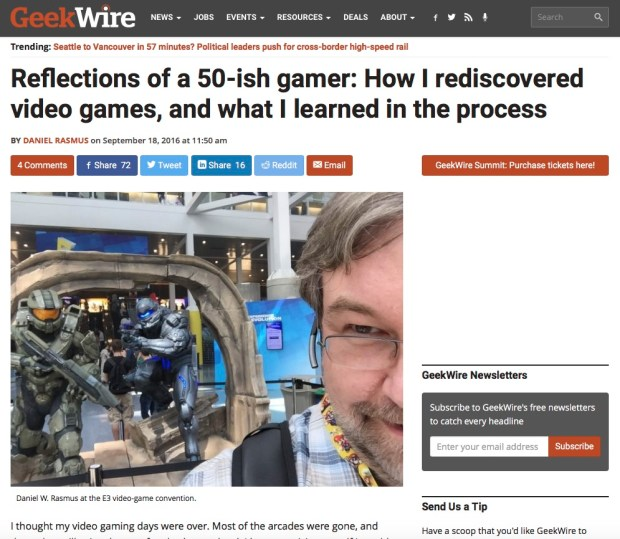 Reflections of a 50-ish gamer at GeekWire