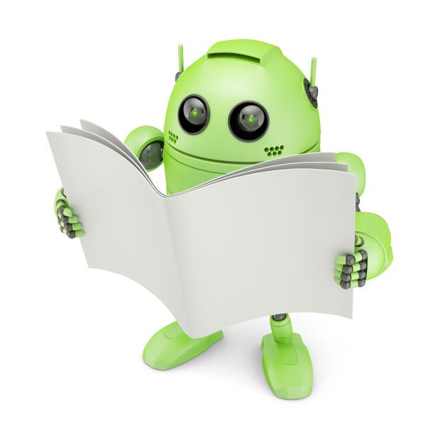 Android with blank book