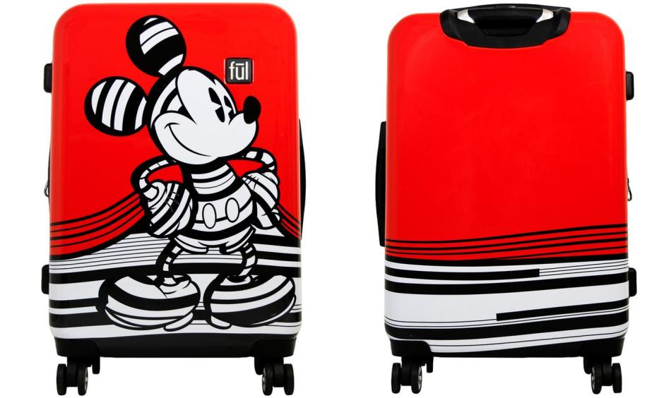 Disney's Striped Mickey Mouse Hard Sided Luggage Set (3-Piece)