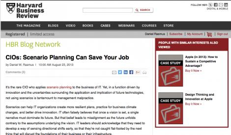 HBR – CIOs: Scenario Planning Can Save Your Job